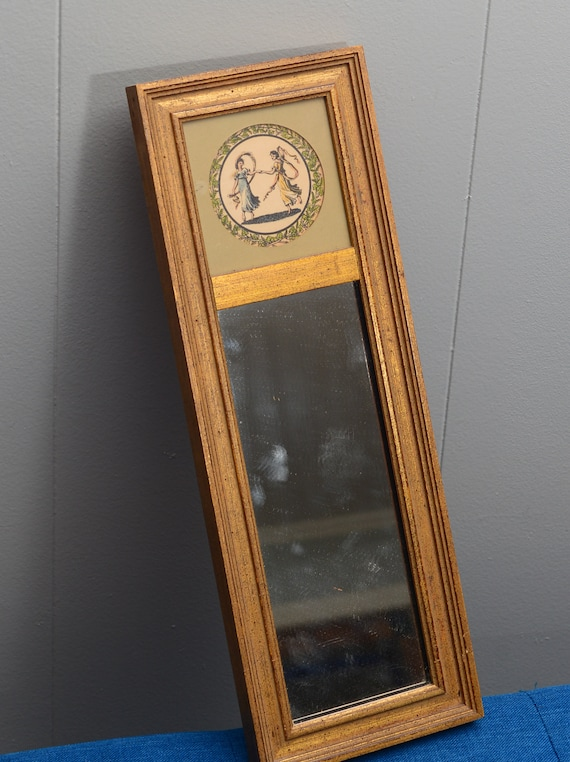 Vintage Skinny narrow Rectangular Mirror With Dancing Nymphs Great for Small Space
