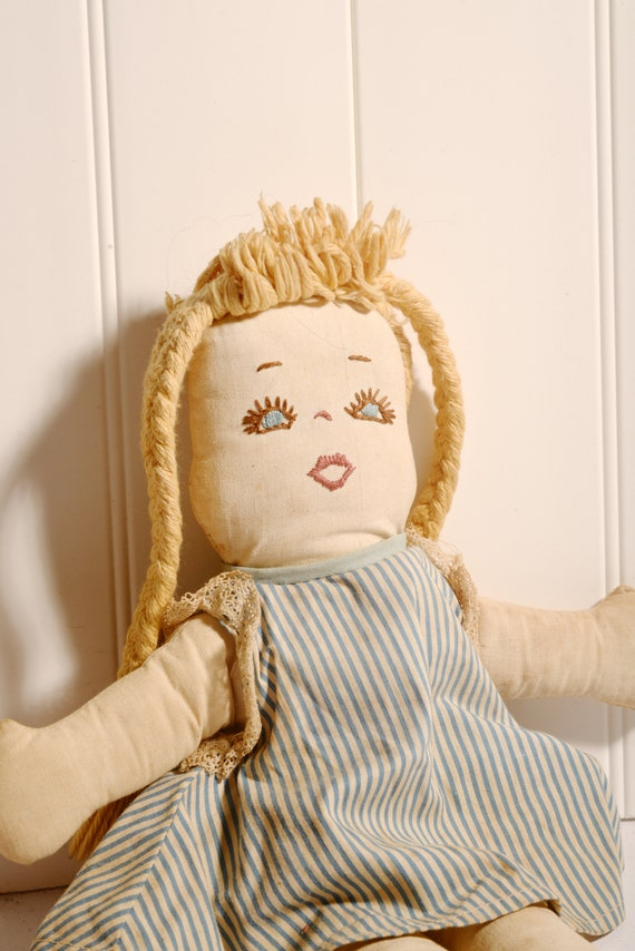Vintage 1950s Rag doll Two faces sleep and awake, hand made 1950s kit hand made folk art doll Soft Body