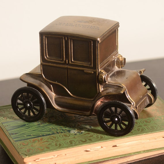 North Carolina Bank Banthrico Promotional Brass Bank Coin Bank Vintage Truck Car Baker Electric