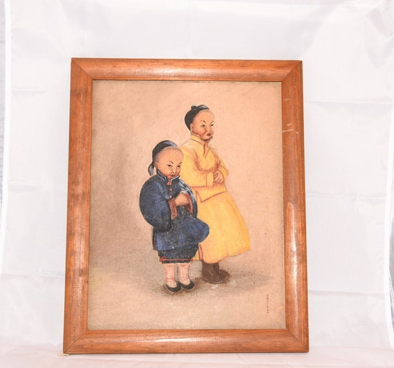 Framed print on board Asian Children, Chinese, Mandarin traditional Clothing Toddlers Vintage C1940s