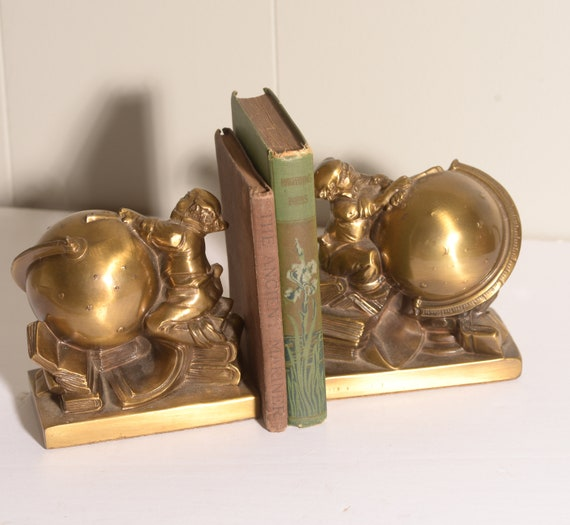 P&M Philadelphia Manufacturing Astronmer Bookends Jennings Mold Circa 1950s Star Gazer Astronomy Moon