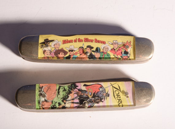 Camillus  Riders of the Silver Screen  1991 pocket knife movie western collectible Zorro and Whole Line Up Set of 2 knives