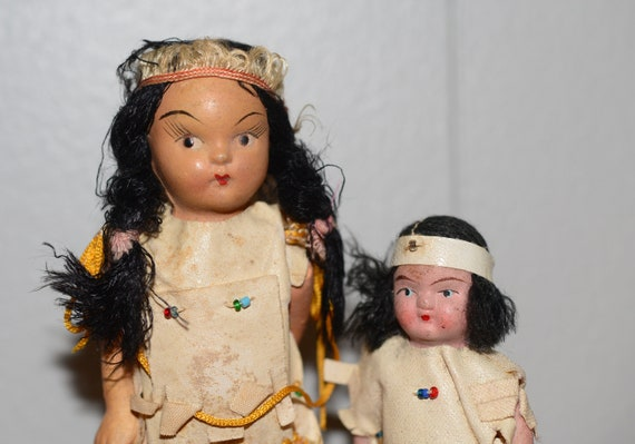 Pair of antique Composition Bisque Native American Dolls German, American Hand crafted Antique dolls