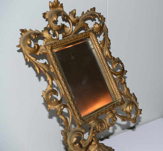 Antique Solid gilt  Mirror Ornate French Style Vintage Rococo Gold tilted Pedestal Victorian Dressing Table Vanity Mirror