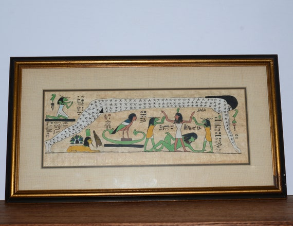 vintage egyptian parchment papyrus hieroglyphics  artwork framed 21 inches long Egypt Art
