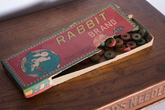 Early Cap Gun paper Caps Ammo Rabbit Company Display Lithograph Scarce