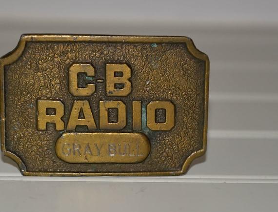 Vintage 1970s  CB radio Truckers Brass Belt Buckle Gray Bull Call name, vintage retro Chunky cast belt