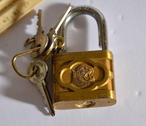 Vintage Lion Padlock with working Keys Solid Brass Lock Lion Head