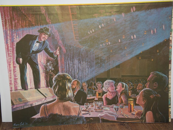 Saratoga SPA Summer Theater Harper Goff Disney Animator Prints Nightclub Scene Comedy Club Casino Red Skelton,1960s  Vintage Mod