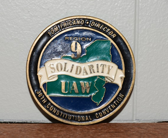 1992 UAW Convention Region 9 United Auto Workers Labor Union Bronze Medallion Enamel on Bronze Solidarity San Diego