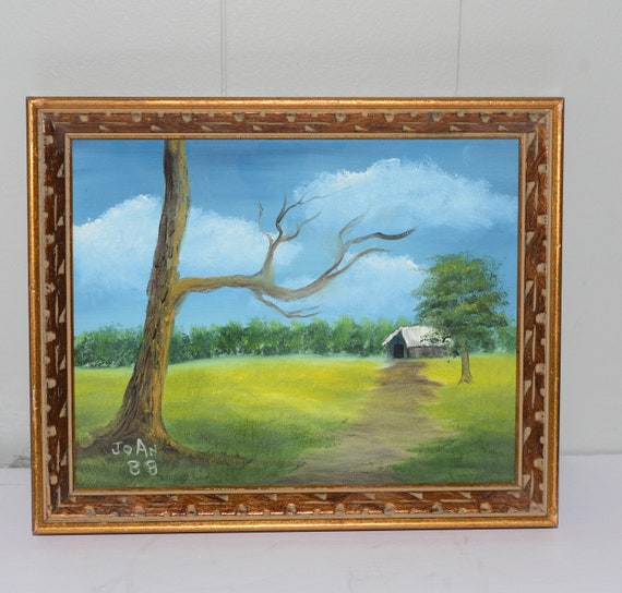 Small 8X10 Hand Signed Oil on Canvas Framed Barn Country Scene With Tree and field 1988