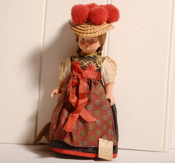 Vintage Hard Plastic Schmider German Black Forest Doll tiny Souvenir doll 1970s with hang tag Costume doll