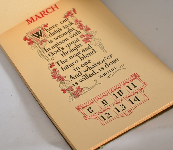 1914 New Thought Calendar Barse & Hopkins Heavy 52 page Weekly Inspirational Antique Calendar