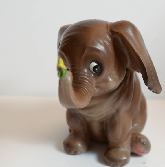 Josef Original Elephant With flower Trunk Up Adorable Figurine Baby Elephant porcelain