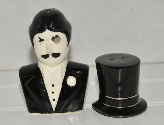 Fitz & Floyd Salt and Pepper Shaker Mand with tuxedo and Top Hat Wedding or Formal Wear Decor