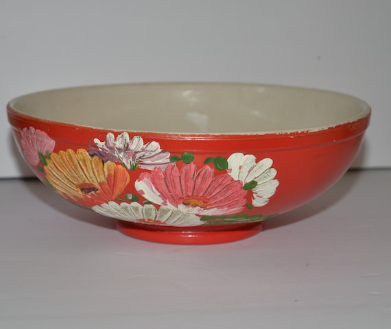 """Ransburg Pottery 10"""" Serving Bowls Orange with Asters Ohio Pottery 1940s"""