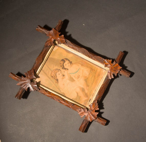 Black Forest Arts And Crafts Era Small Picture Frame with Victorian Image Carved wood Folk Art Frames Arts and Crafts Era