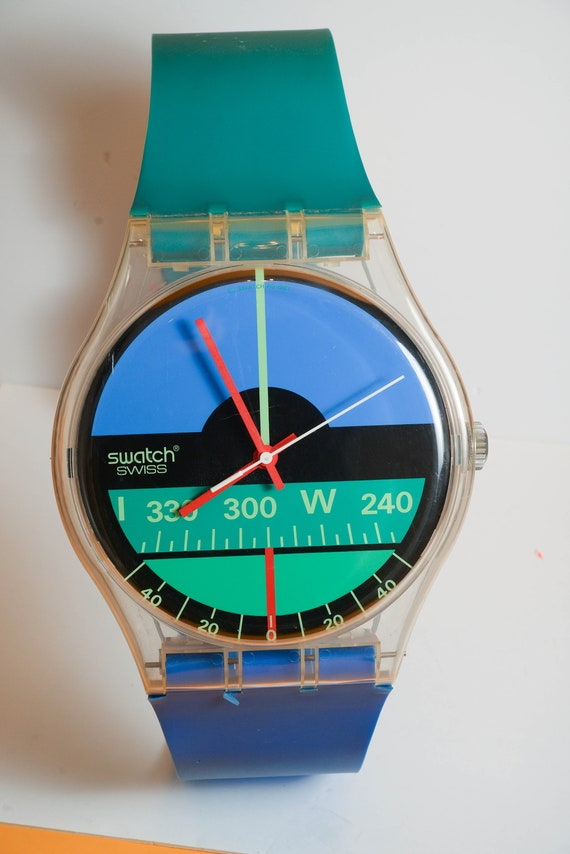 Swatch Maxi 1987 Nautilus Wall Clock Watch Plastic Retro Swiss Clock for your collection 87 inches tall Face is 13 inches