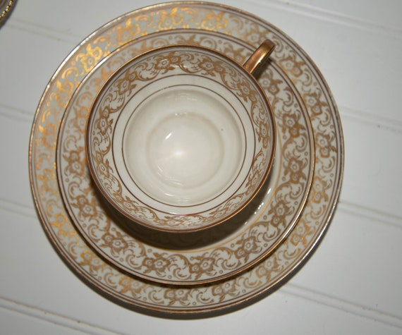 Vintage Rosenthal Bavaria China Trio Set Tea Cup, Saucer and Underplate in Gold Gilt Pattern