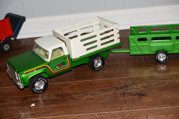 Nylint Lime Green Farm Truck and Trailer Vintage 1970s Farm Toy Die Cast Metal 1/16 scale Ready to display or Play