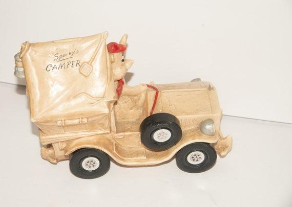Sparky's Camper Plastic Bank Novelty Bank Promotional Bank Camper Truck With Bear