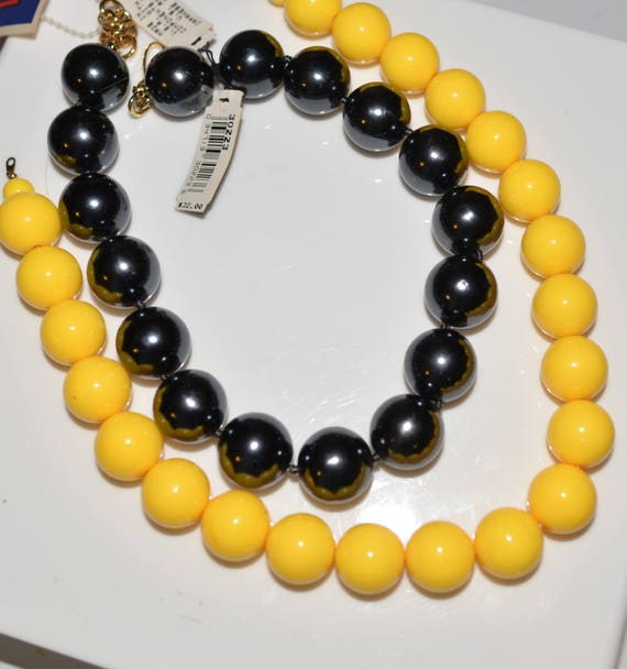 Vintage 80s 90s Monet Chunky Plastic Bead Made in Japan Necklaces Set of two Black and yellow