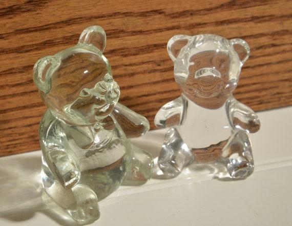 Pair of Lead Crystal Bears Oneida and Handblown Teddy Bears Vintage crystal 1989