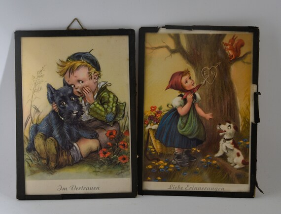 2 Framed German Prints Children with Dogs , in Confidence and in memory scotty Dog Adorable Childrens Art