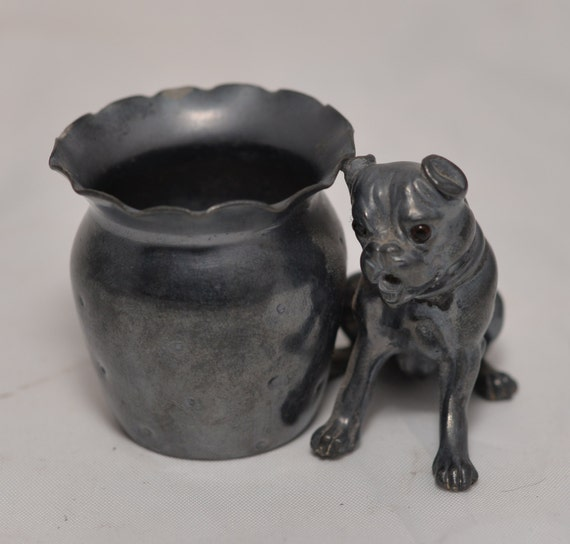 Silver Plate Toothpick Holder Pug or boxer Dog  puppy Derby 2306 Quadruple Plate Figural Circa 1880 glass eyes