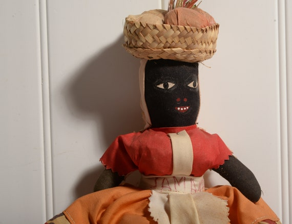 Large Vintage Black Rag Doll Jamaica With Basket, hand sewn Folk Art Doll from Estate collection