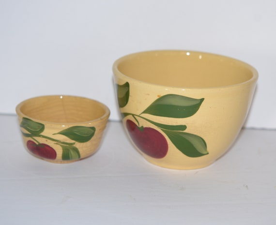 Two Watt Pottery Apple 1940 Mixing Bowls 1 cup and 4 inch larger size Pre 1958 Yellow Ware Pottery Primitive bowls