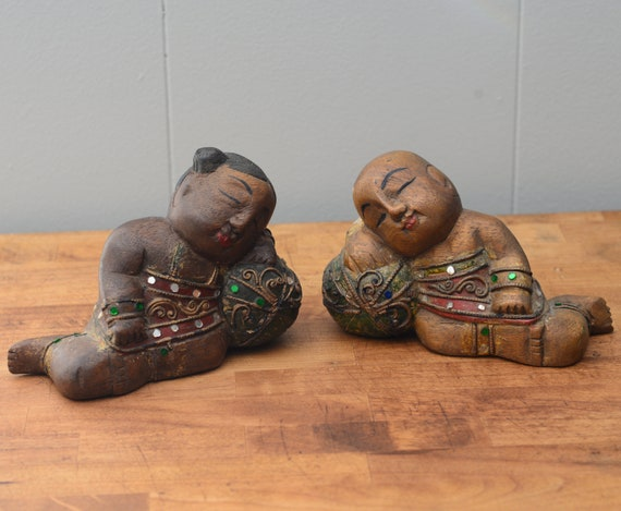 Wood Bookends, Reclining Buddha, bejeweled, sequin, hand carved Thai, Asian Vintage Book Ends Zen Moments