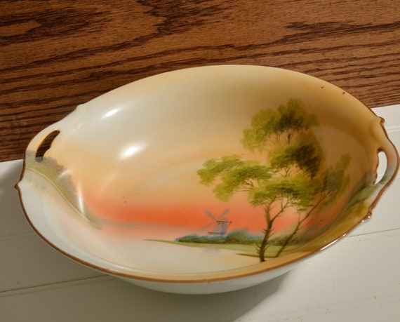Handpainted Nippon Serving Bowl Windmill and Lake Scene Sunset and Sunrise Colors