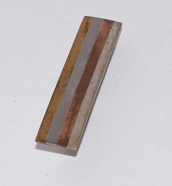 Vintage Sterling Taxco Tie Clasp Mixed Metal Brass Copper Similar to Los Castillo design Skinny tie 925 Hecho en Mexico
