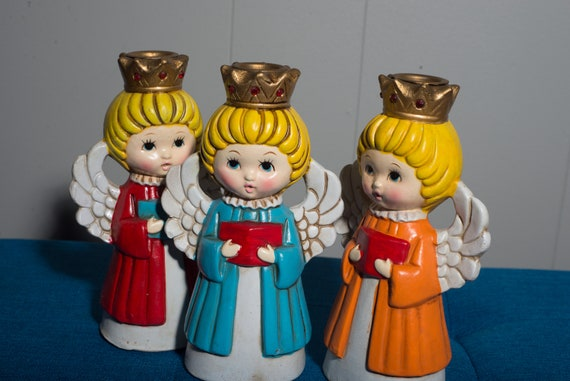 1960s Paper Mache Angel Candle Holders mid Century pop with Original Box Retro MCM Christmas Decorations Angels