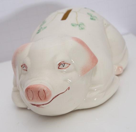 Belleek Piggy Bank 1993 Blue Mark Belleek Ireland Porcelain piggy bank 7 inches