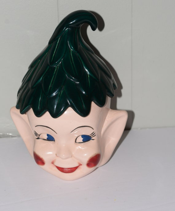 Vintage 1950s Pixie Elf Fairy Cookie Jar with Pink Cheeks and Gree Lid Retro Kitchen Hand Decorated