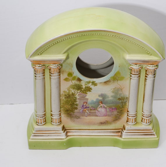 Antique Gilbert Clock Porcelain Romance Scene Clock Case Stoke on Trent Large Clock Case 1930s