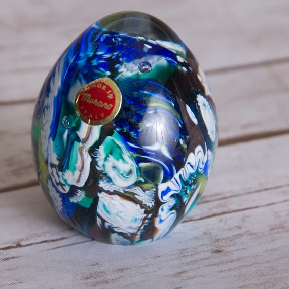 Murano Italian Glass Scramble paperweight Blues , Greens, Ocean  Colors original Label Art Glass Egg shaped World Earth Ocean Look