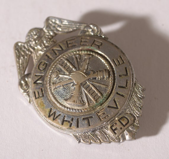 Vintage obsolete Fire Dept Badge Whiteville, NC Engineer Silverton 1950s Fireman Badge Antique