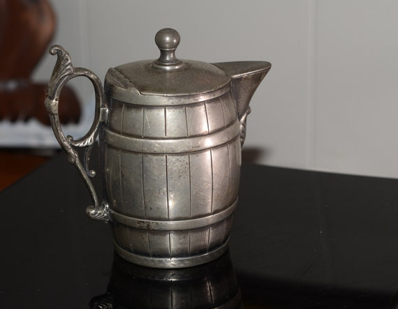 Barrel Shaped Syrup or cream Pitcher Middletown  silver plated  Figural 1900s Early piece