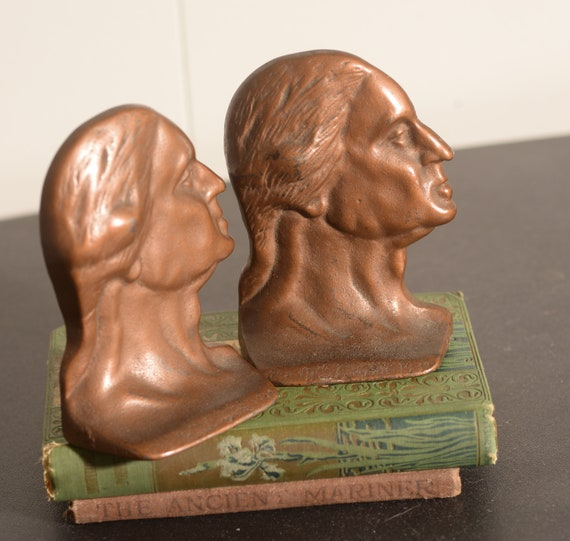 Antique 1932 George Washington Bicentennial Celebration bookends Bronze Relief portrait Free Ship