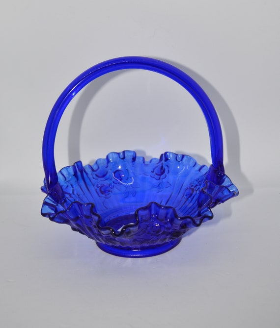 Vintage Fenton colonial Blue Rose Ruffled Glass Brides basket