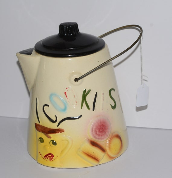 American Bisque Coffee Kettle Cookie Jar 1950s Original with Metal Handle Coffee cup and cookies painted Black Lid Vintage Cookie Jar