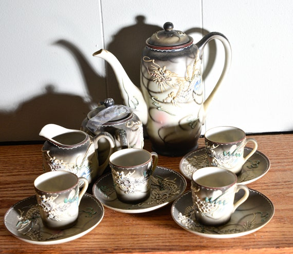 Occupied Japan Dragonware Enameled High Relief Demitasse Cup Tea set Service for 4 1940s High Relief, Black Grey Blue and Pink Dragons