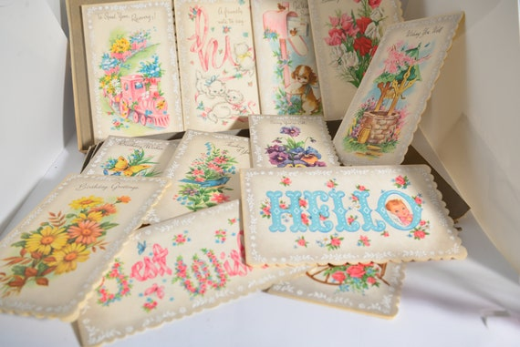 Lot of  13 NOS Parchment All occasion Greeting Cards with box Colorful whimsical greetings