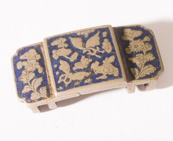 Antique Asian Art Nouveau Enamel Cloisonne Antique Belt or Sash Buckle Butterflies Cobalt blue Hand hewn free ship
