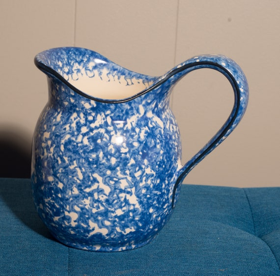 Stangl Town and Country Spatter Ware blue and white Pitcher Pottery Pitcher