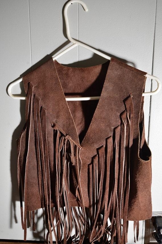 Vintage Boho 1970s Fringe Brown Suede Vest Bike Week , Leather hippy Size M. 32 inches Long fringe! Hippie Fest