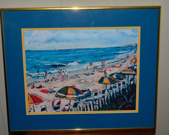 Beautiful Beachscape Beach Scene Limited Edition signed print Nina Azure Water and colorful umbrellas